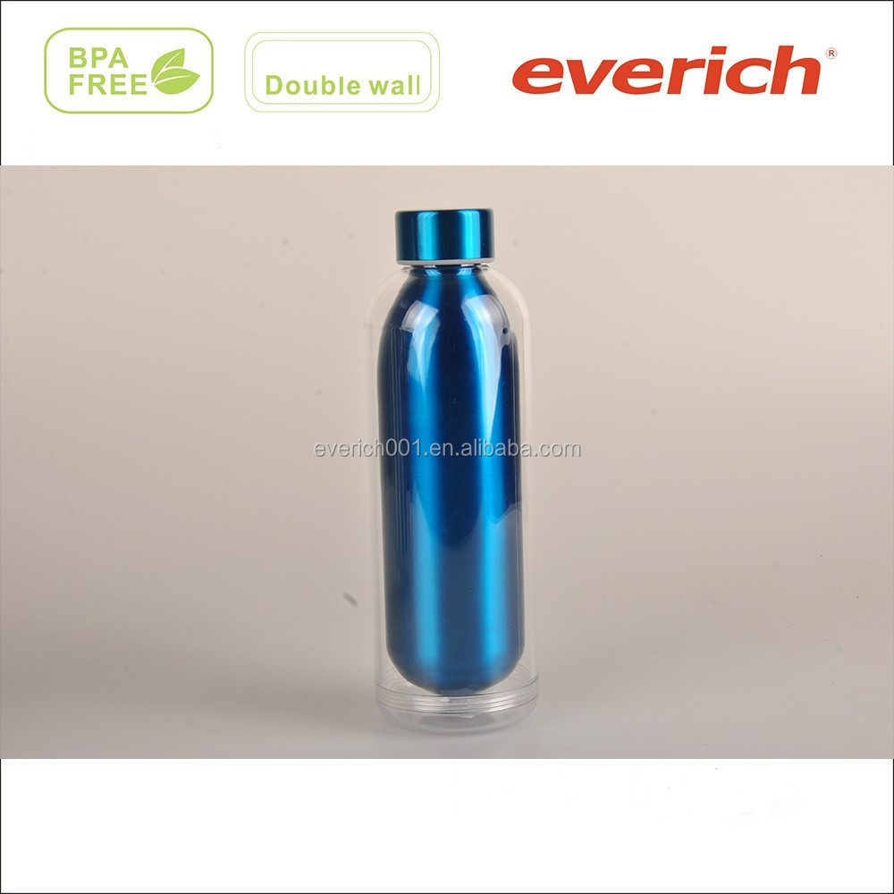 Custom printed double wall plastic and stainless steel imported thermal water bottle