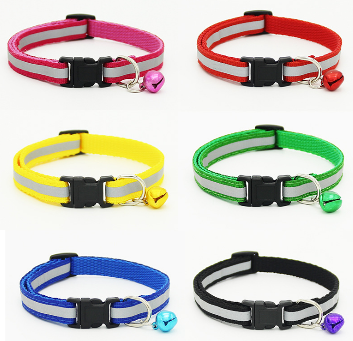 Top Quality Reflective Durable Nylon Cat Collars Small Bell Plain Dog Collar