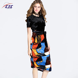 Latest Fancy Design women back lace stitching casual summer dress
