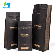 Resealable Zipper Flat Bottom Kraft Paper Coffee Bags With Degassing Valve /Custom Aluminum Foil Coffee Bags