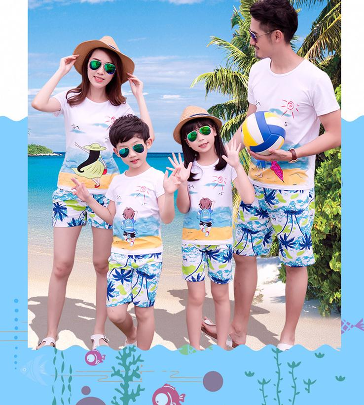 X61105A Family Look Girl and Mother Father and Son T-shirt and Shorts Printed Digital 2017 Summer Family Matching Clothes set