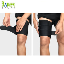 black neoprene thigh sleeve guard support fitness men thigh sleeve sports safety leg compression guard