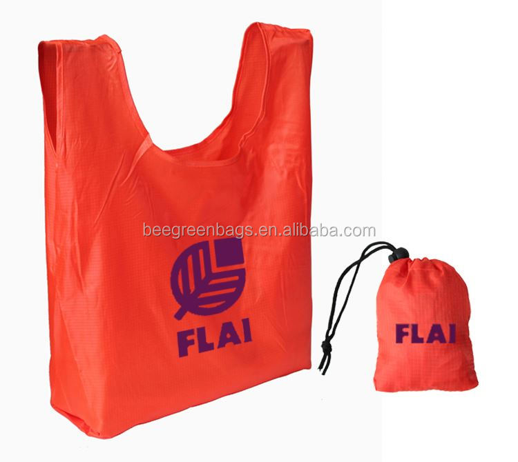 Customized 190T nylon fold fabric shopping bag with drawstring pouch