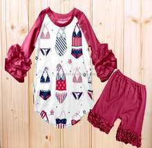 ruffle American style children's dress outfits infant boutique clothing cotton and milk silk summer baby clothes wholesale