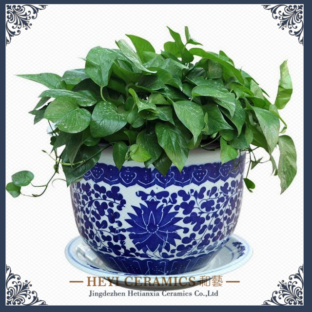 Garden supplies customized hand decals blue and white ceramic flower pot