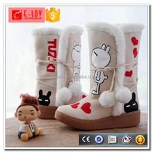 White women snow boots with nice drawing on it warm painted shoe Q008/Q010