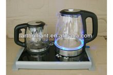 Dual electric kettle &keep warm tea tray double set stainless steel glass