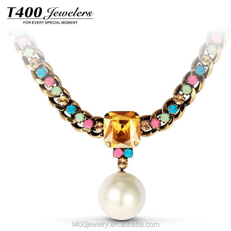 T400 fashion chain Austrian crystal jewelry wholesale imitation pearl pendant necklace with AAA Zircon