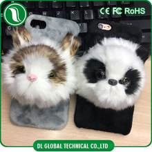 2017 new arrivals fundas para celulares of panda plush protector para celulares with inner phone holder animal cell phone case