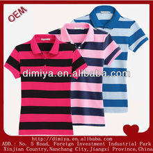 2013 latest custom summer lady's, men's short sleeve casual cotton engineering yarn dyed striped polo tshirt