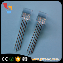 Super Bright common anode transparent water clear flat 8mm 4-pin rgb led diode