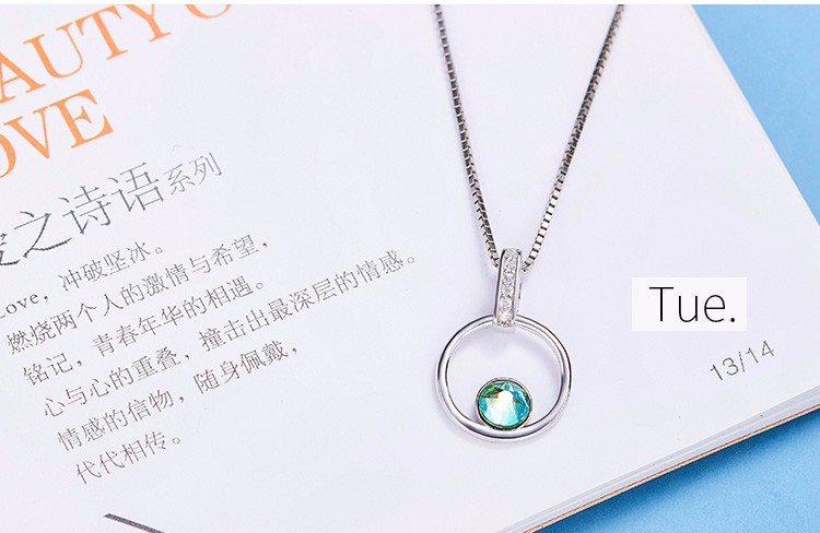fashion jewelry factory welcome customize different type of chain 2017 Daily Of Week crystals from Swarovski pendant necklace