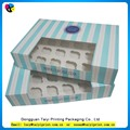 Customized printed classical cupcake boxes red and white stripe