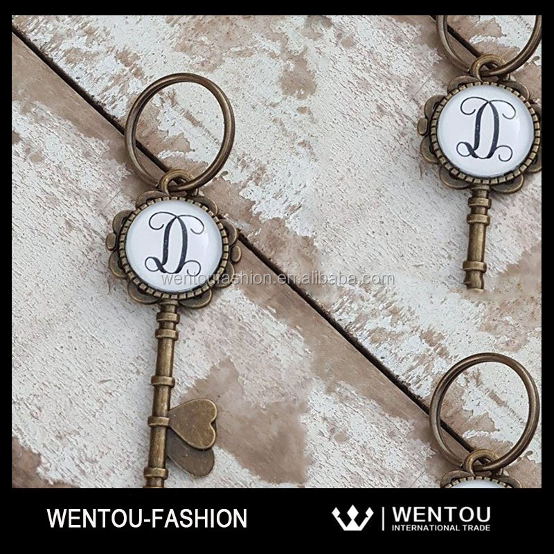 Personalized Initial Skeleton Key Ring