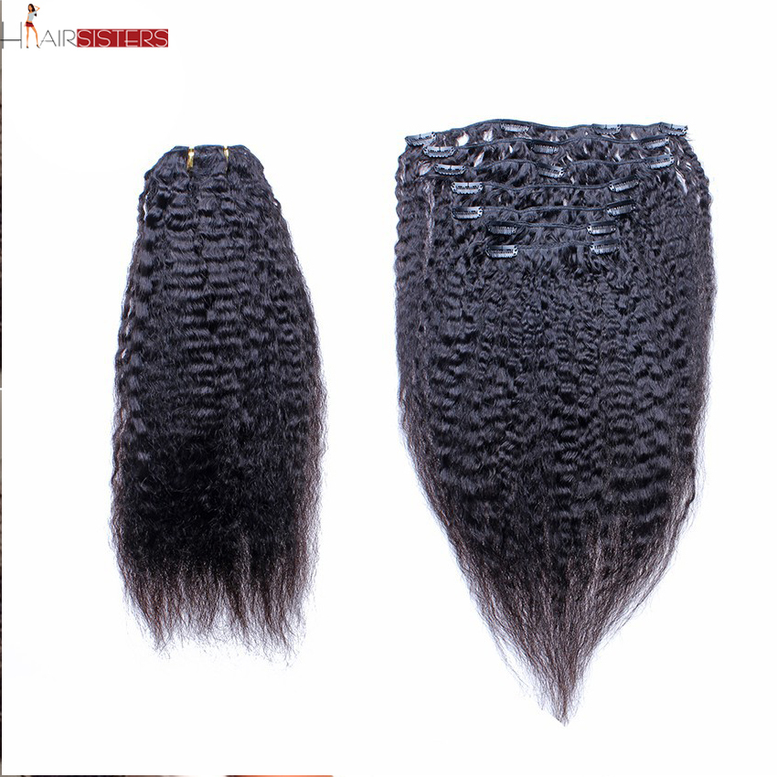 Brazilian Virgin Hair Clip In Human Hair Extensions Kinky Straight Hair 7 Pcs 120 Gram Italian Coarse Yaki Cara Hair 6A Grade