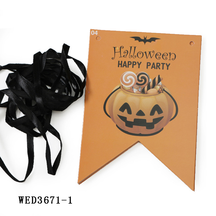 Halloween Party Banner Flag Decoration Pumpkin Designed With Letter Decorative