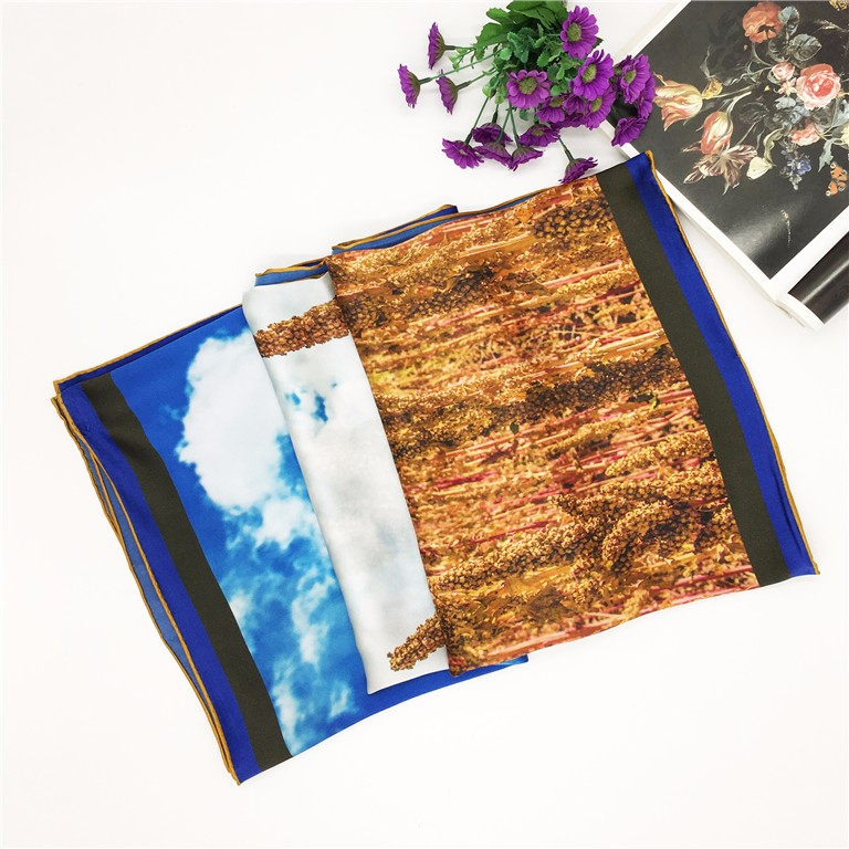 Custom digital print custom design silk scarf in bulk
