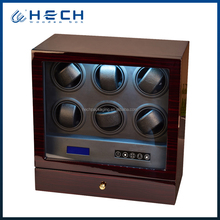 Modern wooden watch winder 6 automatic box with storage drawer