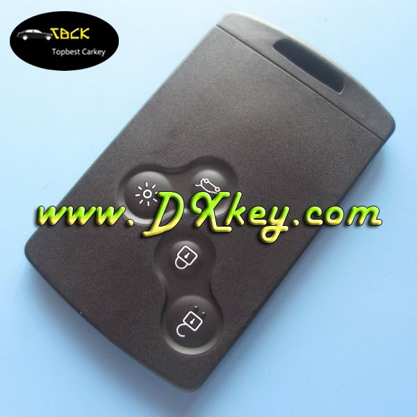 High quality After market 4 buttons 433mhz renault remote key with logo for renault Koleos key card