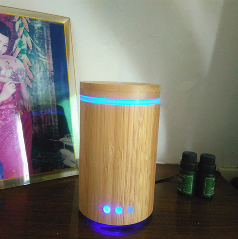 Angelwon 160ml natural bamboo aroma diffuser wooden essential oil diffuser ultrasonic air humidifier with LED light