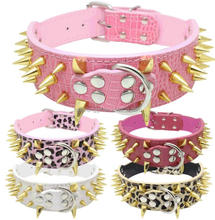 3 Inch wholesale large gold spiked decorative dog collar with studs