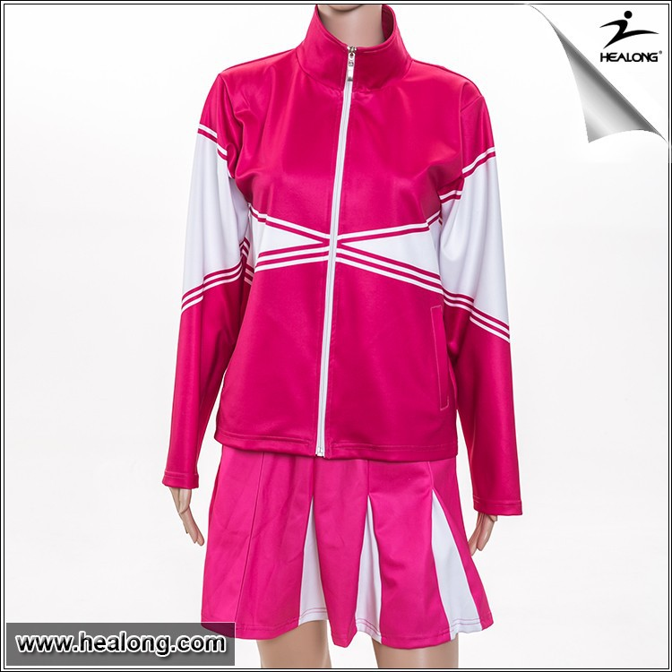 Ladies Double Knit Warm-up Jacket for Cheerleading with sublimation design