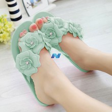 New Fashion Women's Casual Rubber Camellia Slippers Summer Flowers Flip-flops Shoes Flat Sandals