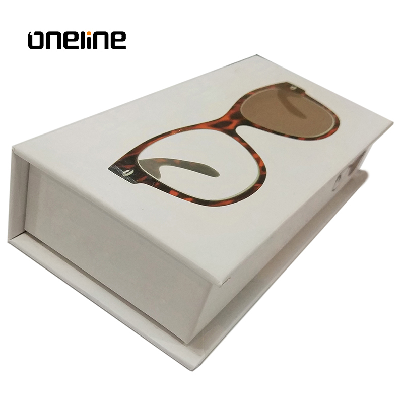 Promotional flip type paper glasses box logo printing eyeglasses case
