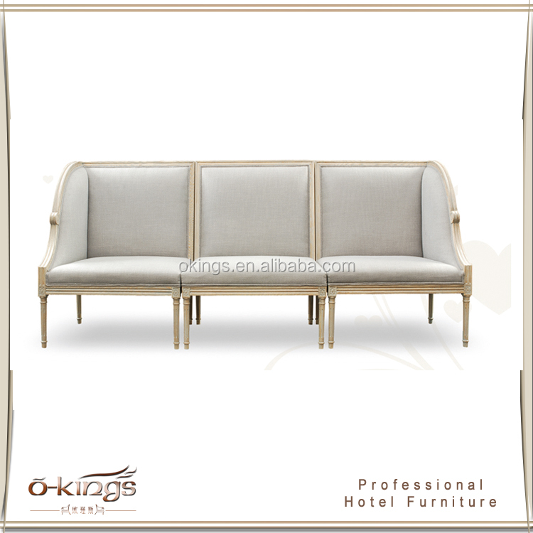 Hotel carving frame design durable 3-seater sofa