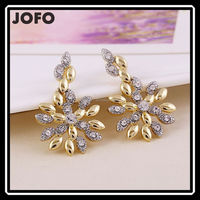 2015 New Fashion Wheat Style Two Tone Austrian Crystal Earrings Best for Gift or Decration XPJ0247