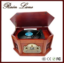 Rain Lane High End Gramophone Vinyl Record Player Turntable Wooden Radio CD Player