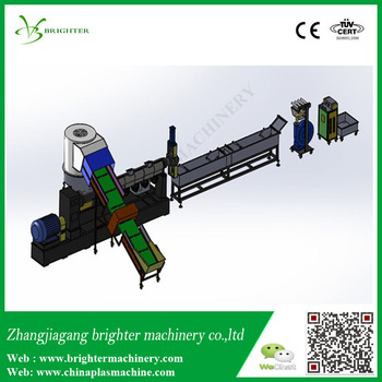 Compacting single stage extruder Stand type pp pe plastic film granulation line