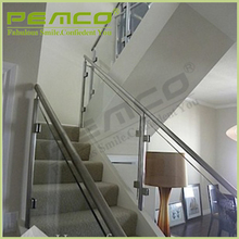 Modern custom design Indoor stair glass stainless steel railings price