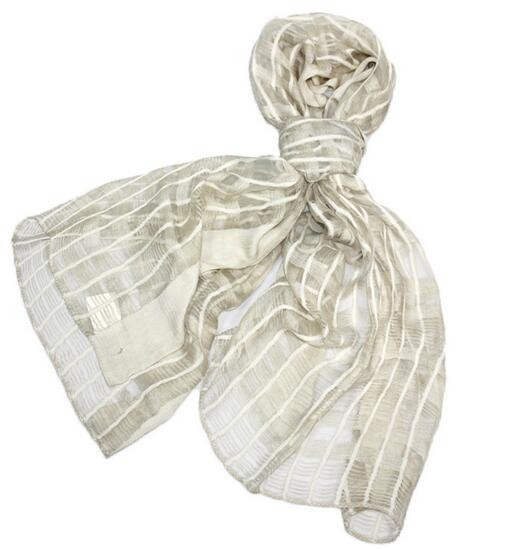 Fashion speical printed stripe color winter warm silk cotton scarf in check