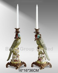Home Decoration Bronze Candle Stick Porcelain Parrots Figurine,Colorful Porcelain Parrots Candle Holder