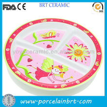 Pink Pretty Ceramic Divided Snack Plates Dishes
