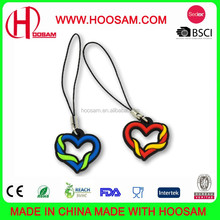 customized cute promotion pvc chinese heart shape cell phone strap