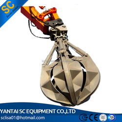 Excavator Hydraulic Orange Peel Grab Steel Scrap Grab for loading Scrap Metal, Waste