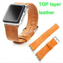 wax oil top layer Genuine leather strap 38mm 42mm for apple watch