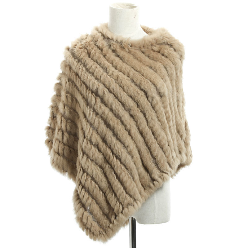 Newest dyed color knitted fur coat real rabbit fur poncho