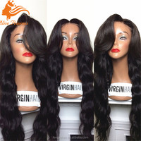 7A Grade Brazilian Virgin Hair body wave Natural Part Full Lace Wig #1B Long Blonde