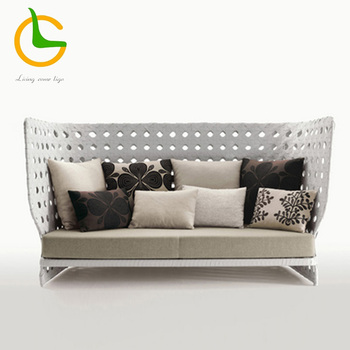 Modern 2 seater high back wicker rattan outdoor sofa