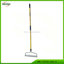 Long Fiberglass or Wood Handle 14 Teeth Garden Soil Bow Rake