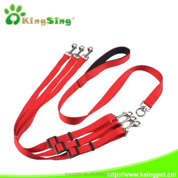 3 way dog coupler leash, nylon braided dog collar and leash