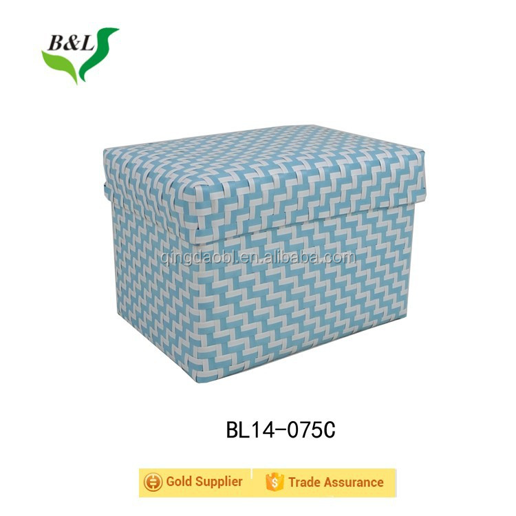 Multipurpose sets/3 colorful pp strap woven handmade storage basket /bin with lid for laundry 14075
