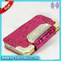 2014 New Designs Flip Leather Rhinestone Phone Cases for Iphone 4G 5G 5S Mobile Accessory