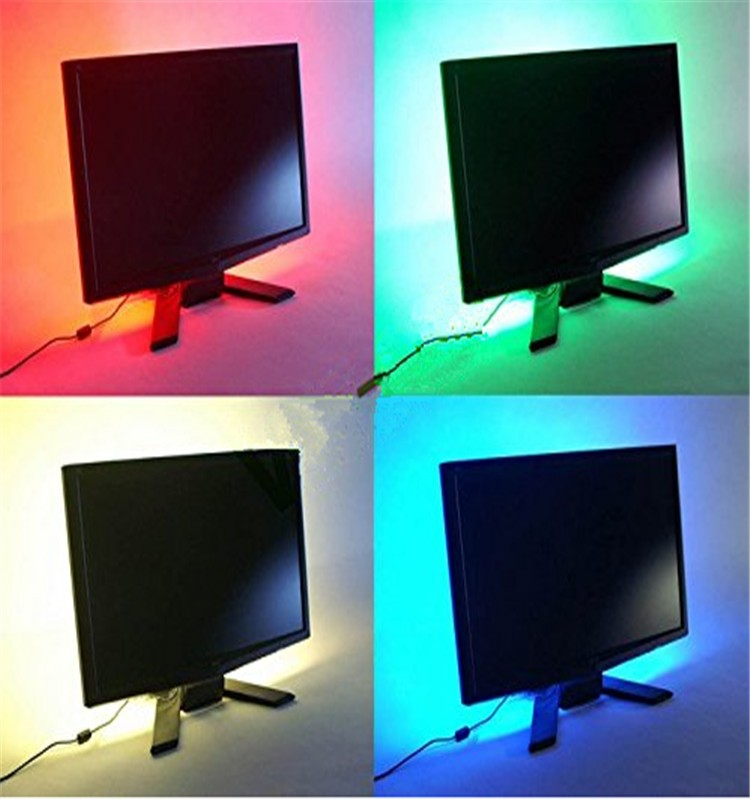 50cm 19.7in RGB LED Strip Light TV Background Lighting Kit RED GREEN BLUE With 5V & USB Light Controller