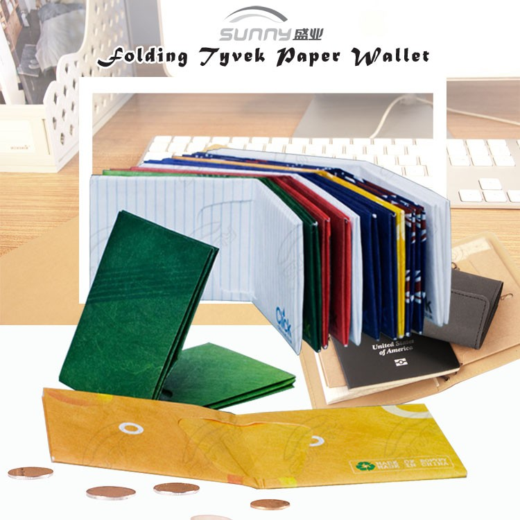 Anti-Tearing Waterproof Tyvek Paper Folding Wallet