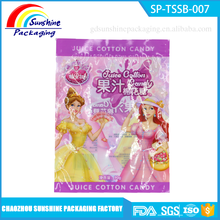 Colorful Printed Plastic 3 Side Seal bag for Marshmallow Candy Packaging