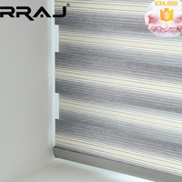 RRAJ Transparent Double Layers Office Window Sheer Blind